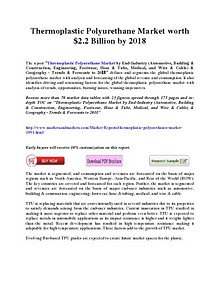 Thermoplastic Polyurethane Market worth $2.2 Billion by 2018