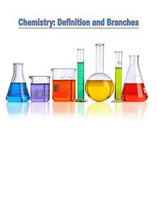 Branches and Definition of Chemistry