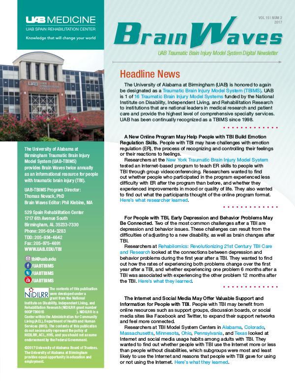 Brain Waves: UAB Traumatic Brain Injury Model System Newsletter Volume 15 | Number 2