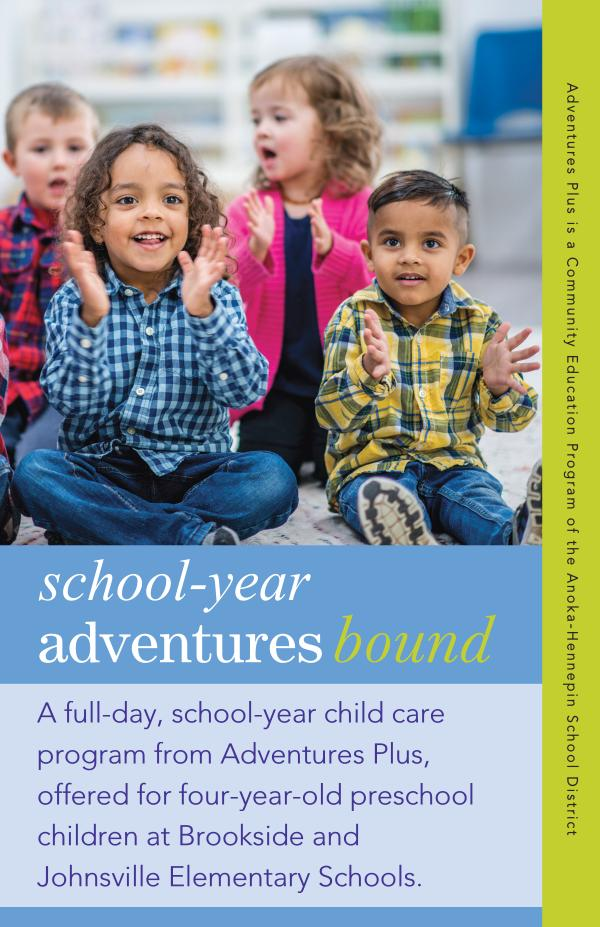 Community Education program brochures Adventures Bound, 2021-22 school-year care