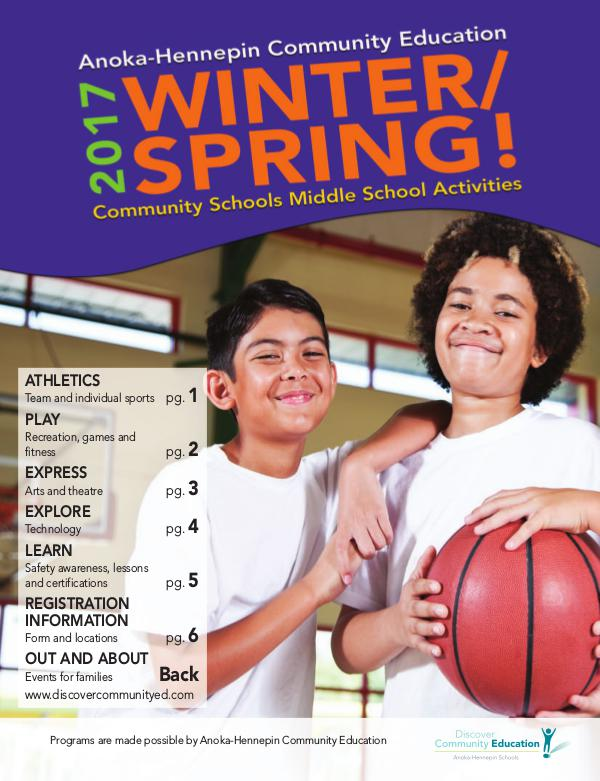 Community Education - current class catalogs Youth activities and classes - Winter/Spring 2017
