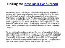 Finding the best  Lasik Eye Surgeon