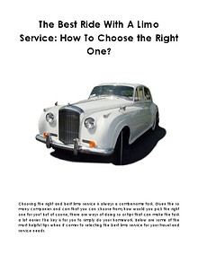 The Best Ride With A Limo Service: How To Choose the Right One?