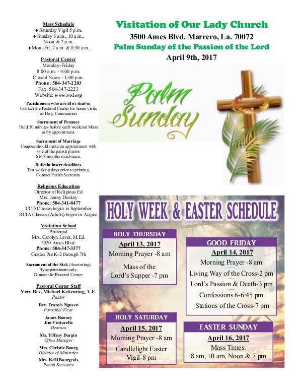 VOL Parish Weekly Bulletin April 9, 2017