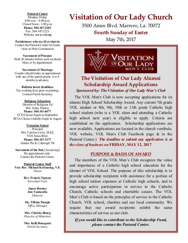 VOL Parish Weekly Bulletin May 7, 2017