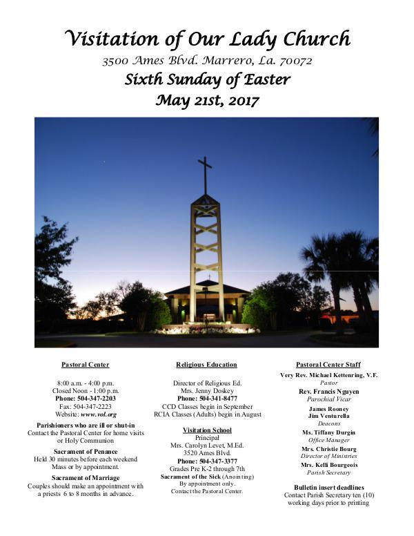 VOL Parish Weekly Bulletin May 21, 2017