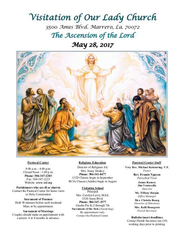 VOL Parish Weekly Bulletin May 28, 2017