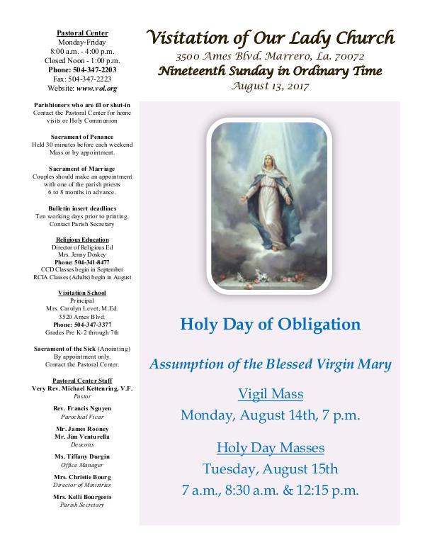VOL Parish Weekly Bulletin August 13, 2017