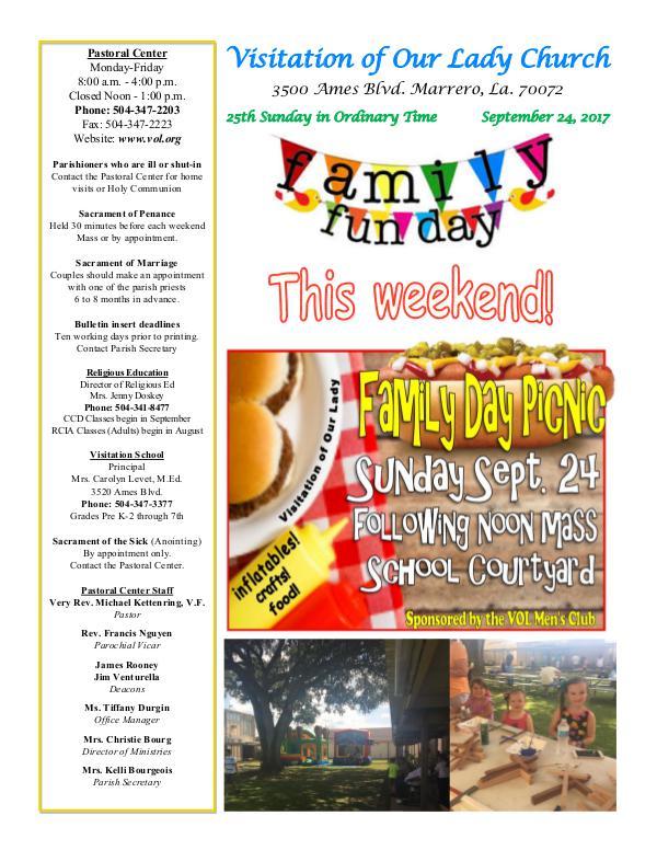 VOL Parish Weekly Bulletin September 24, 2017