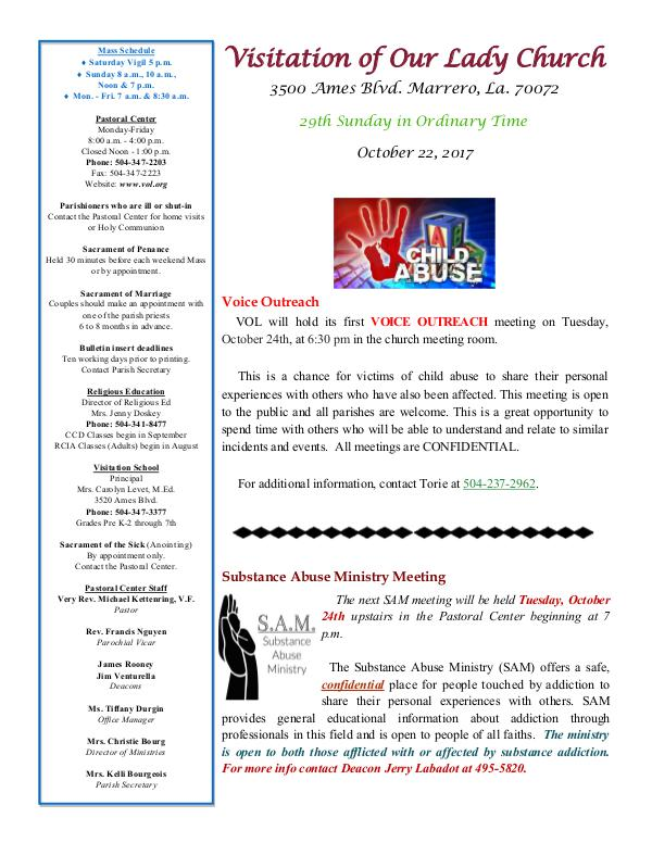 VOL Parish Weekly Bulletin October 22, 2017