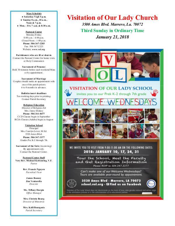 VOL Parish Weekly Bulletin January 21, 2018
