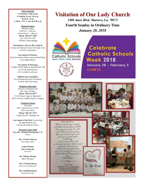 VOL Parish Weekly Bulletin January 28, 2018