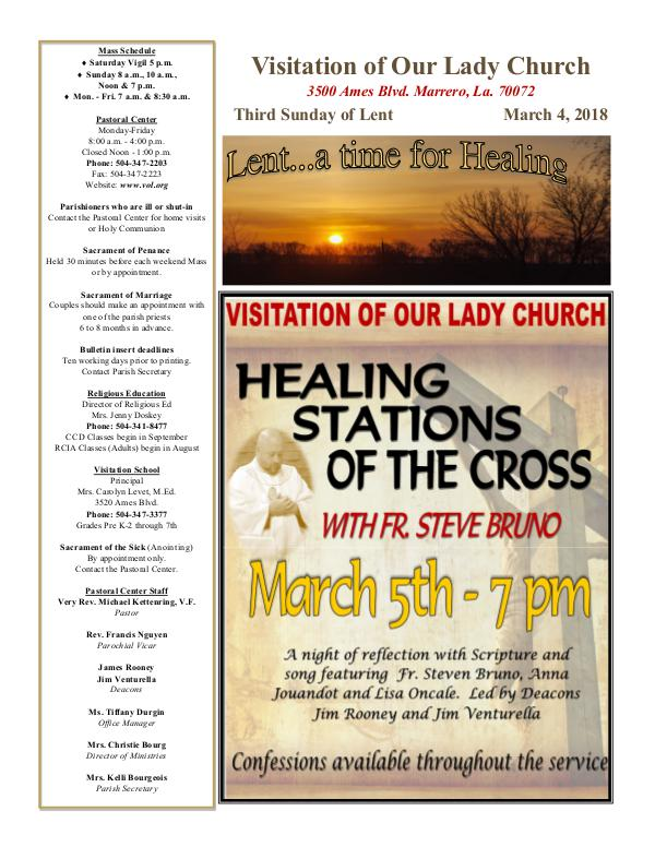 VOL Parish Weekly Bulletin March 4, 2018