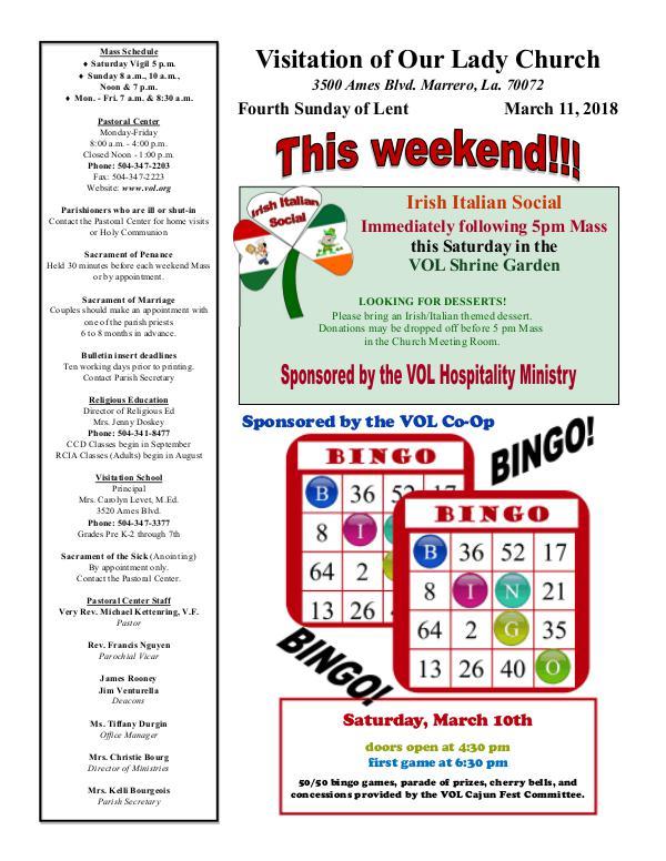 VOL Parish Weekly Bulletin March 11, 2018