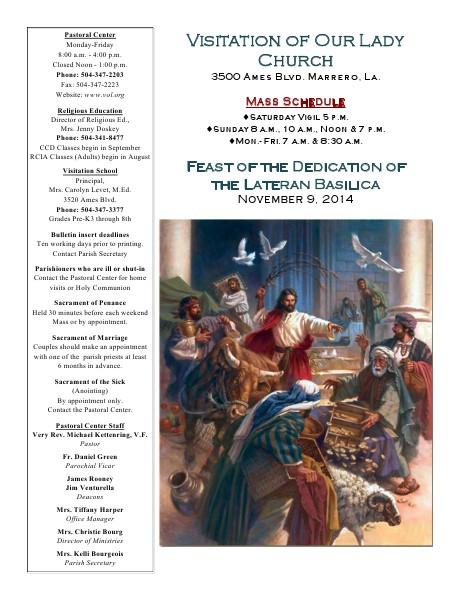 VOL Parish Weekly Bulletin November 9, 2014 Bulletin
