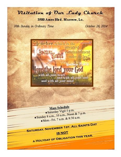VOL Parish Weekly Bulletin October 26, 2014 Bulletin