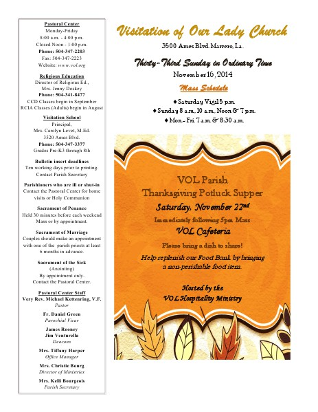 VOL Parish Weekly Bulletin November 16, 2014 Bulletin