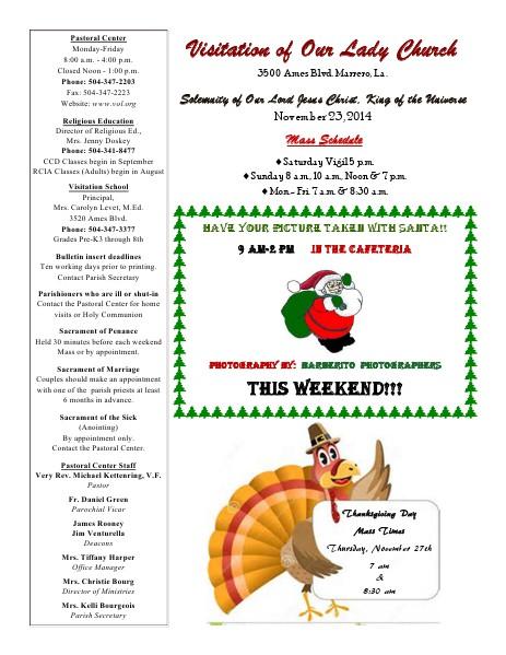 VOL Parish Weekly Bulletin November 23, 2014 Bulletin