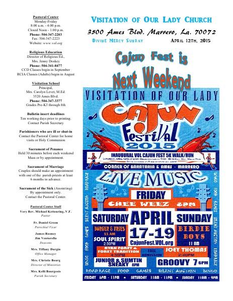VOL Parish Weekly Bulletin April 12, 2015