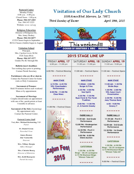 VOL Parish Weekly Bulletin April 19, 2015
