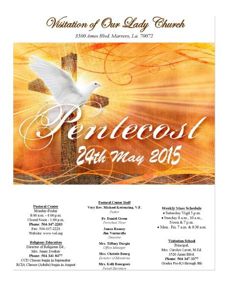 VOL Parish Weekly Bulletin May 24, 2015