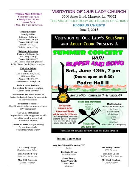 VOL Parish Weekly Bulletin June 7, 2015