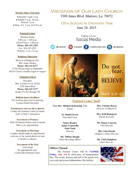 VOL Parish Weekly Bulletin June 28, 2015