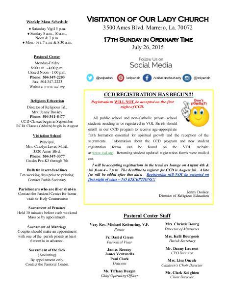 VOL Parish Weekly Bulletin July 26, 2015