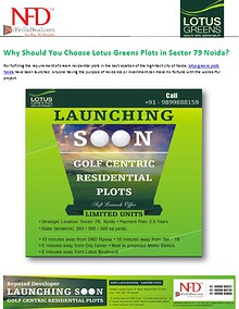 Why Should You Choose Lotus Greens Plots in Sector 79 Noida?