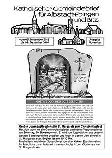 Gemeindeblatt November 2016