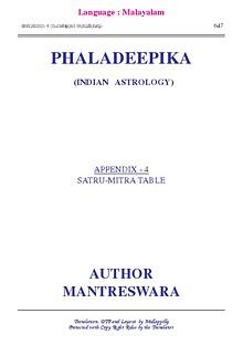 Phaladeepika - Appendix 4
