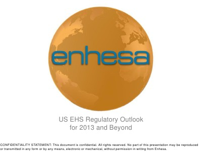 Webinars US EHS Regulatory Outlook for 2013 and Beyond