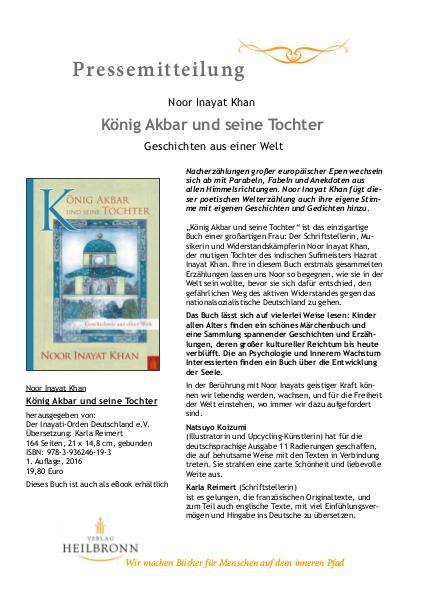 Verlag Heilbronn - Pressemitteilungen König Akbar und seine Tochter von Noor Inayat Khan