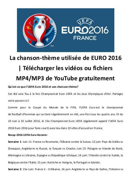 Telecharger chanson theme uefa euro mp4 mp3 gratui