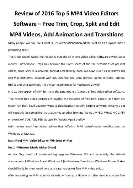 Top 5 free mp4 video editors review