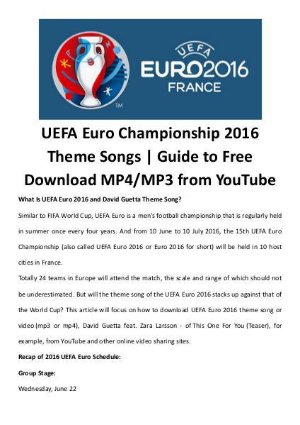 Uefa euro theme songs videos free download