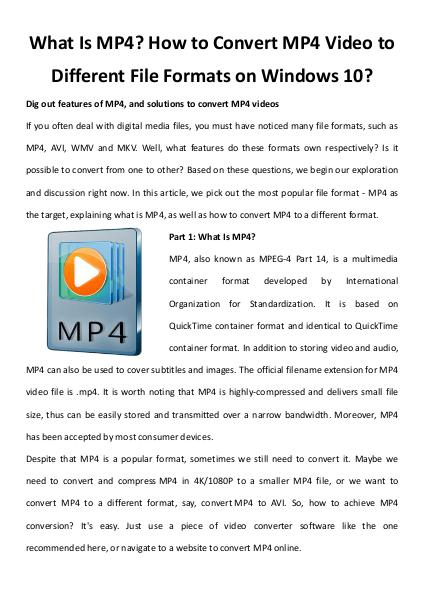 What is mp4 how to convert mp4 video
