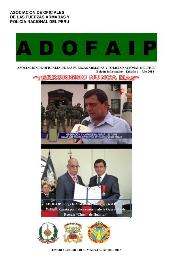 Boletín ADOFAIP N 1 - 2018 BOLETIN 01 ADOFAIP 2018 ENERO - ABRIL