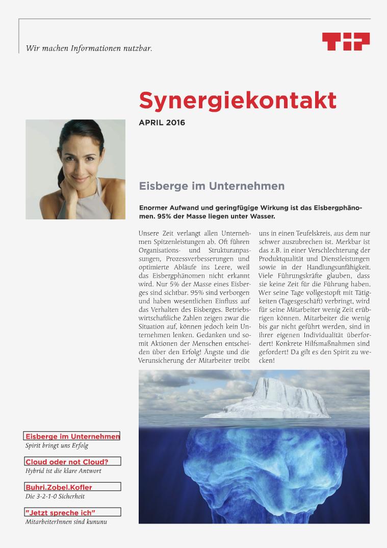 Synergiekontakte 2016 Synergiekontakt April 2016