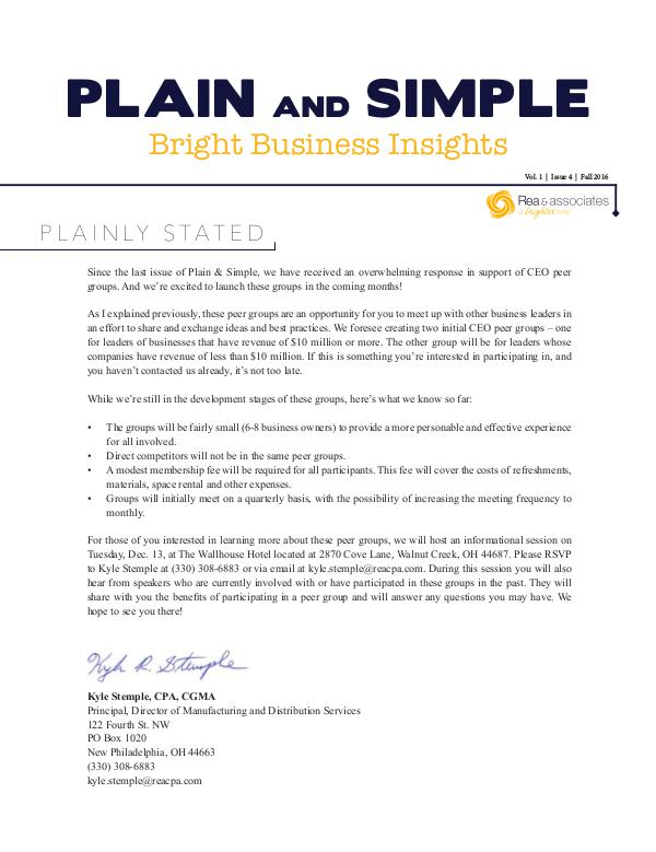 Plain and Simple: Bright Business Insights October 2016
