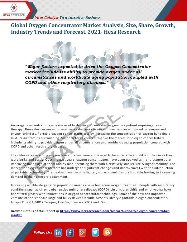 Global Oxygen Concentrator Market Trends, 2021