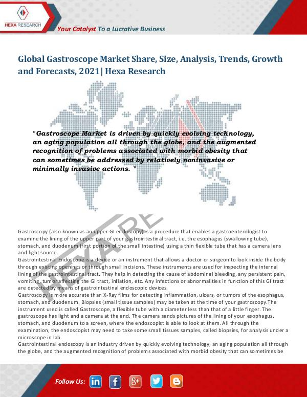 Gastroscope Market Insights, 2021: Hexa Research