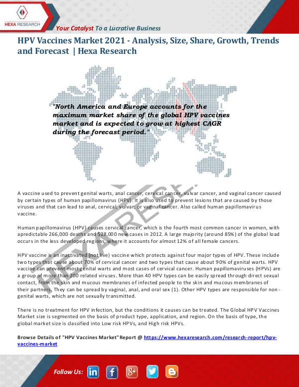 HPV Vaccines Market Research Report 2021