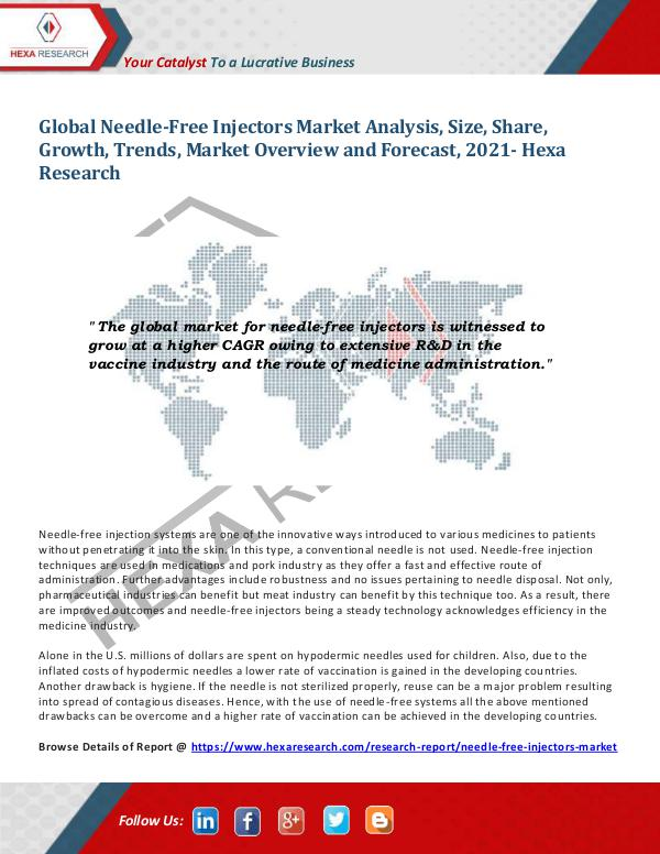 Needle-Free Injectors Market Research Report, 2021