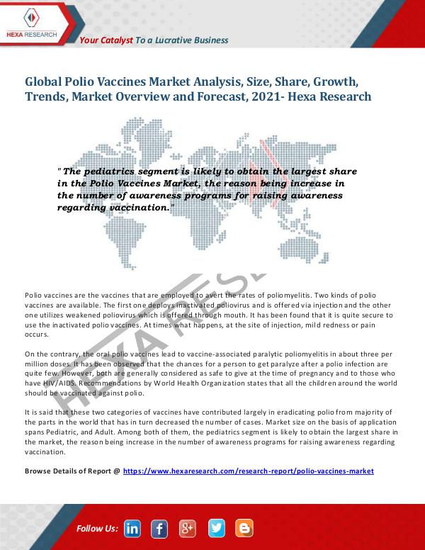 Polio Vaccines Market Growth and Forecasts, 2021