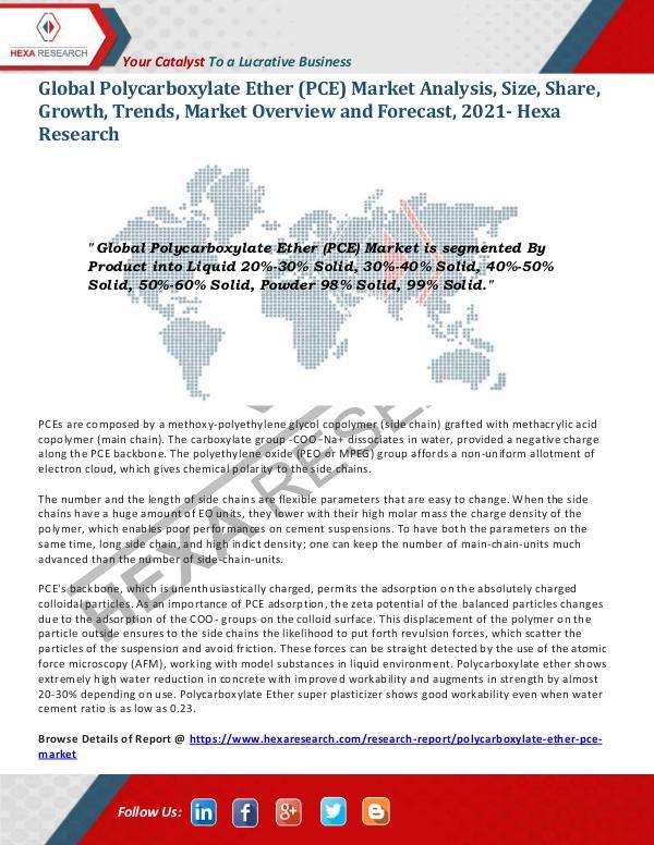 Polycarboxylate Ether (PCE) Market Analysis, 2021
