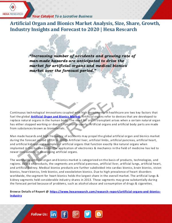 Artificial Organ And Bionics Market Size 2020