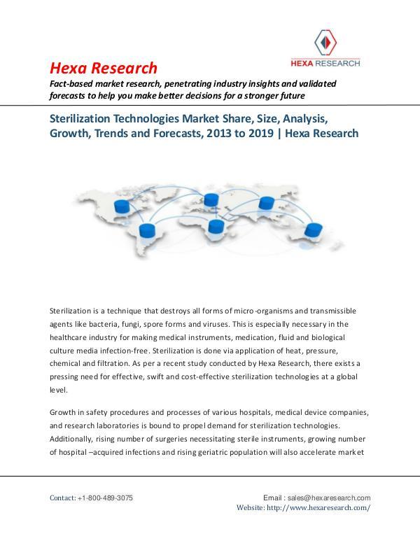 Sterilization Technologies Market Insights, 2019
