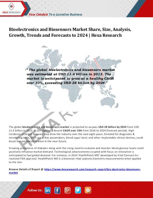 Bioelectronics and Biosensors Market Analysis