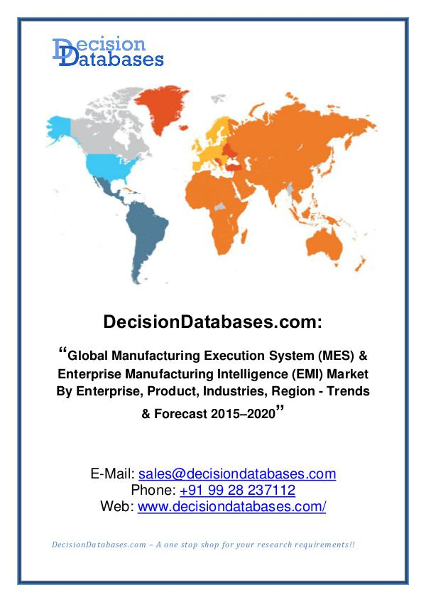 Market Report - Global Manufacturing Execution System Market